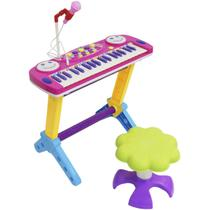 Teclado Piano Infantil Musical Rock Star 37 Teclas com Microfone e Banqueta Importway Bw151 -