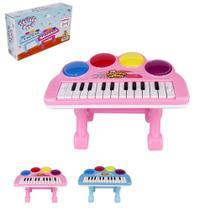 Teclado / Piano Musical Infantil Baby Colors Com Apoio + Luz A Pilha Na Caixa Wellkids - Wellmix