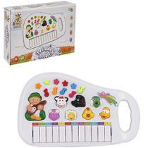 Teclado Piano Musical Infantil Baby Fazendinha Com Luz A Pilha Branco - Wellkids 8456 -