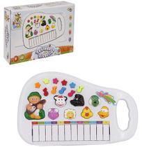 Teclado / piano musical infantil baby fazendinha com luz a pilha na caixa wellkids - Wellmix