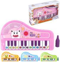 Teclado / piano musical infantil bichinhos sortidos colors com pe + luz a pilha na caixa wellkids - Wellmix