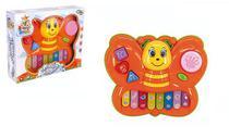 Teclado piano musical infantil borboleta colorida com luz - Wellmix