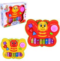 Teclado / piano musical infantil borboleta colors com luz a pilha na caixa - Wellmix