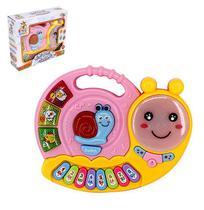 Teclado / piano musical infantil caracol lesmucha colors com luz a pilha na caixa wellkids - Wellmix