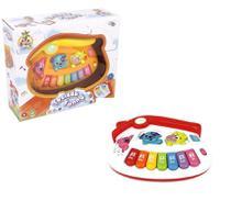 Teclado piano musical infantil casinha colorida com luz - Wellmix