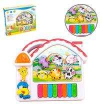 Teclado Piano Musical Infantil Fazendinha Com Luz A Pilha Na Caixa Wellkids - Wellmix