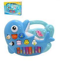 Teclado piano musical infantil golfinho colorida com luz - Wellmix