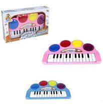 Teclado Piano Musical Infantil Happy Com Luz A Pilha Na Caixa Wellkids - Wellmix