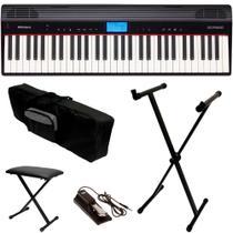 Teclado Roland GO 61P Piano + Capa Estante Banco e Pedal Sustain -