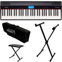 Teclado Sintetizador Roland GO Piano 61P + Capa Estante Banco -