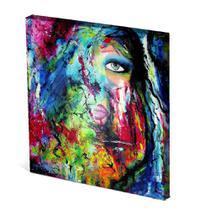 Tela Canvas 30X30 cm Nerderia e Lojaria olho e boca surreal colorido - Nerderia Presentes