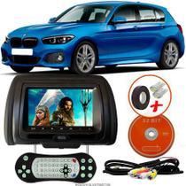 Tela Encosto de Cabeça 7 Polegadas Preto DVD USB SD Função Game com Controle BMW 125i M SPORT - Tech One