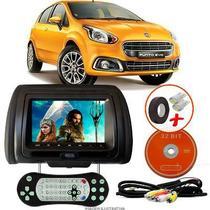 Tela Encosto de Cabeça 7 Polegadas Preto DVD USB SD Função Game com Controle FIAT PUNTO EVO - Tech One