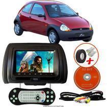 Tela Encosto de Cabeça 7 Polegadas Preto DVD USB SD Função Game com Controle FORD KA HATCH G1 - Tech One