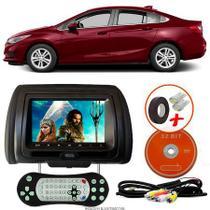Tela Encosto de Cabeça 7 Polegadas Preto DVD USB SD Função Game com Controle GM CRUZE SEDAN - Tech One