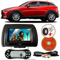 Tela Encosto de Cabeça 7 Polegadas Preto DVD USB SD Função Game com Controle MAZDA CX321 - Tech One
