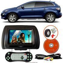 Tela Encosto de Cabeça 7 Polegadas Preto DVD USB SD Função Game com Controle MAZDA CX7 - Tech One