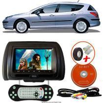 Tela Encosto de Cabeça 7 Polegadas Preto DVD USB SD Função Game com Controle PEUGEOT 407 SW - Tech One