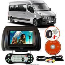 Tela Encosto de Cabeça 7 Polegadas Preto DVD USB SD Função Game com Controle RENAULT MASTER - Tech One