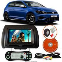 Tela Encosto de Cabeça 7 Polegadas Preto DVD USB SD Função Game com Controle VW GOLF - Tech One