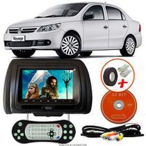 Tela Encosto de Cabeça 7 Polegadas Preto DVD USB SD Função Game com Controle VW VOYAGE G5 - Tech One