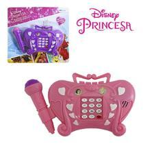 Telefone com microfone musical infantil princesas disney brinquedo com som e teclado meninas - Etitoys