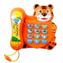 Telefone de Tigre Musical Infantil Fone Com Luz Músicas Sons - Toy King