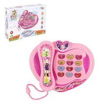 Telefone musical baby coração rosa educativo com luz - Wellmix