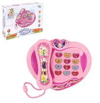 Telefone musical infantil baby coracao rosa educativo com luz a pilha na caixa wellkids - Wellmix
