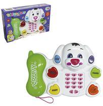 Telefone musical infantil cachorro puppy com luz a pilha na caixa wellkids - Wellmix