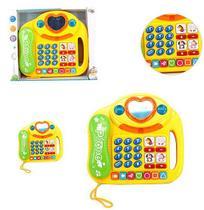 Telefone musical infantil casinha / coracao colors com luz a pilha na caixa wellkids - Wellmix