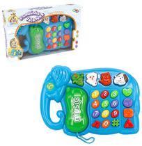 Telefone musical infantil elefante bumbinho com luz a pilha na caixa wellkids - Wellmix