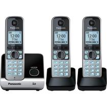 Telefone Panasonic Sem Fio Base + 2 Ramais Com Backup De Energia Kx-Tg6713Lbb -
