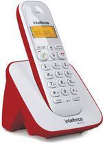 Telefone Sem Fio Com Identificador de Chamadas Branco e Vermelho TS 3110 - Intelbras -