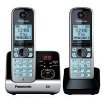 Telefone Sem Fio Com Secretária Eletrônica + 1 Ramal e ID Panasonic DECT 6.0 Preto - KX-TG6722LBB -