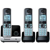 Telefone Sem Fio Digital Panasonic 2 Ramais com Identificador de Chamadas Preto e Prata KX-TG6713LBB -