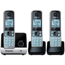 Telefone Sem Fio Digital Panasonic 2 Rmais com Identificador de Chamadas Preto e Prata KX-TG6713LBB -