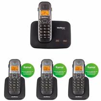 Telefone Sem Fio Intelbras TS 5150 2 Linhas 1,9 GHz DECT 6.0 + 3 Ramal Sem Fio TS 5121 1,9 GHz DECT 6.0 -