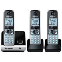 Telefone sem Fio KX-TG6713LBB Preto ID. Chamadas, Viva - Voz + 2 Ramais - Panasonic -