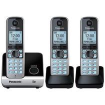 Telefone Sem Fio Panasonic Dect 6.0 + 2 Ramais, Preto E Prata - Kxtg67 -