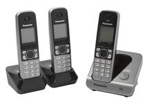 Telefone Sem Fio Panasonic KX-TG6713LBB + 2 Ramais - Identificador de Chamada Viva Voz Preto