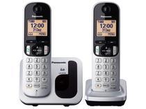 Telefone Sem Fio Panasonic KX-TGC212LB1 + 1 Ramal - Identificador de Chamada Viva Voz Preto e Prata