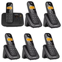 Telefone Sem Fio TS 3130 Com Secretaria Eletrônica + 5 Ramal Sem Fio TS 3111 Intelbras 1,9 Ghz Dect 6.0 -