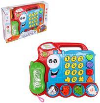 Telefone trem / trenzinho musical infantil fone colors com luz a pilha na caixa - Wellmix