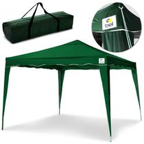 Tenda Gazebo 3X3 Metros Sanfonada Articulada Dobrável Barraca Camping Praia Verde Com Bolsa - Bel Fix