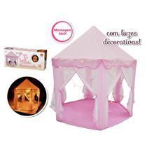 Tenda Iluminada Infantil Rosa Barraca Toca Grande Meninas com Luzes Decorativas DM Toys DMT5875 -