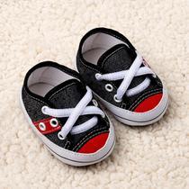 Tênis Bebê Menino Jeans Cano Baixo com Listra Vermelha - Baby Soffete