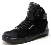 Tenis Botinha Sneakers Cano Alto Top Fitness Sola Preta -