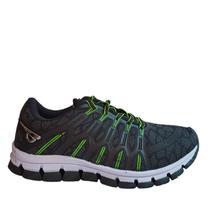Tênis caminhada leve e confortável Preto e Verde - GLK -