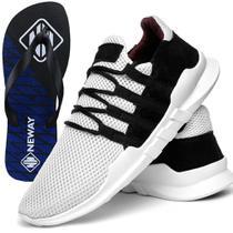 Tênis Caminhada Neway Masculino Branco + Chinelo - Dhl calçados